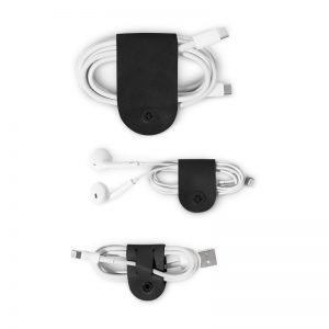 Twelve South CableSnaps 3 Pack Leather Cable Organzier - Black